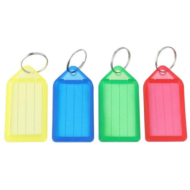 60pcs plastic Slideable Key Fobs Luggage Tags with Key Rings Random Color W Q2O4