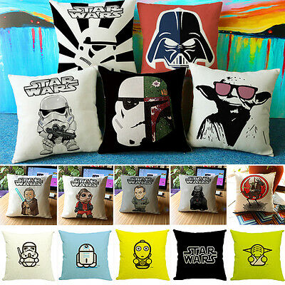 "18"" Star Wars Movie Pillow Case Sofa Home Decor Throw Cotton Linen Cushion Cover"