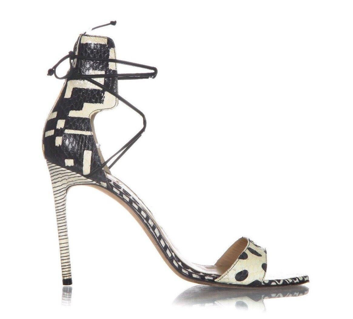all'ingrosso a buon mercato REED KRAKOFF Heels 39.5 nero Cream Snakeskin Snakeskin Snakeskin Open Toe Ankle Tie Stiletto Pumps  ti aspetto
