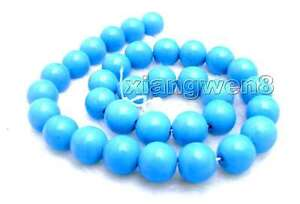12mm-Blue-Round-Natural-TURQUOISE-Loose-Beads-for-Jewelry-Making-DIY-Strand-15-034
