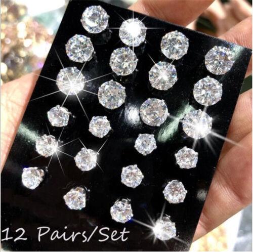 Women Fashion Earrings set Elegant Pearl Crystal Rhinestone Ear Studs Jewelry