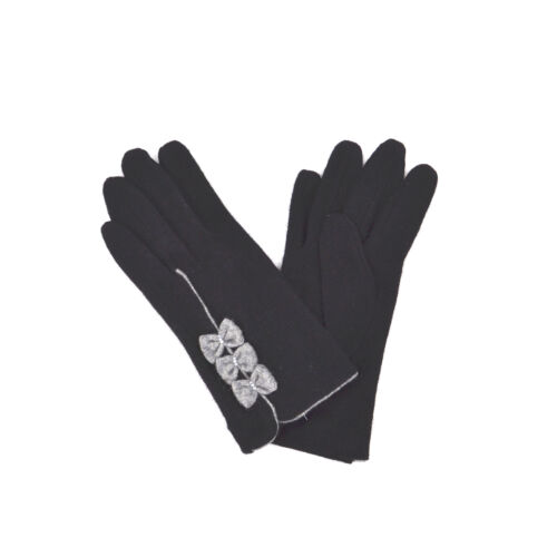 Ladies Womens Girls Short Warm Wool Smooth Triple Bow Contrast Winter Gloves