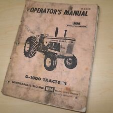 Minneapolis Moline Mm G1000 Tractor Owner Operator Operation Book Manual Book