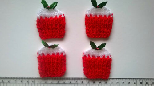 Christmas Cup Cakes Card making Embellishments Craft Toppers 4 Pack Scrabook