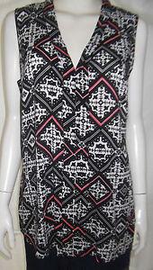 KATIES-Womens-sleeveless-Black-White-amp-Pink-top-size-12