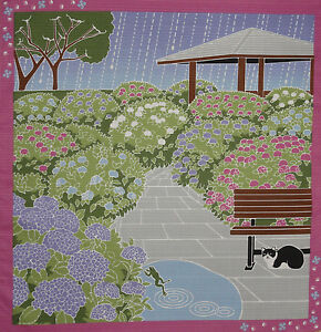 Furoshiki-Wrapping-Cloth-Japanese-Cat-Fabric-039-Tama-and-Hydrangea-039-Cotton-50cm