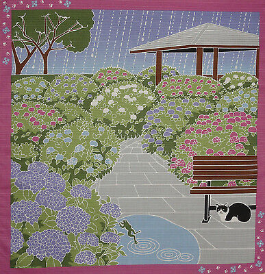 Furoshiki Wrapping Cloth Japanese Cat Fabric 'Tama and Hydrangea' Cotton 50cm