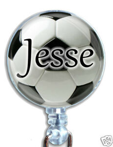 Personalized Soccer Ball Badge Reel Retractable Lanyard Id Name