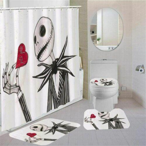 Jack Skellington 4PCS Bathroom Rugs Set Shower Curtain Bath Mat Toilet Lid Cover