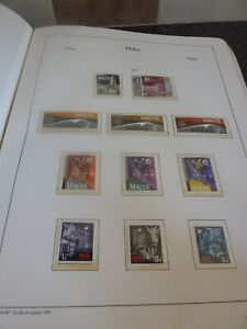 MALTA-STAMP-ALBUM-CLEAR-MOUNTS-VARIOUS-STAMP-SETS-UP-TO-1970-NO-DEFINITIVES
