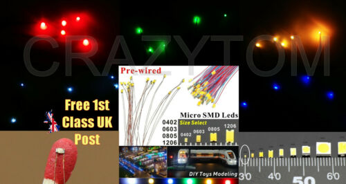 Single//Mixed Colours 5 x 0402 TINY LEDs Pre-soldered wires leads 1 x 0.5mm UK