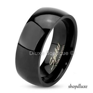 Men-039-s-8mm-Wide-Black-IP-Stainless-Steel-Classic-Comfort-Fit-Wedding-Ring-Band