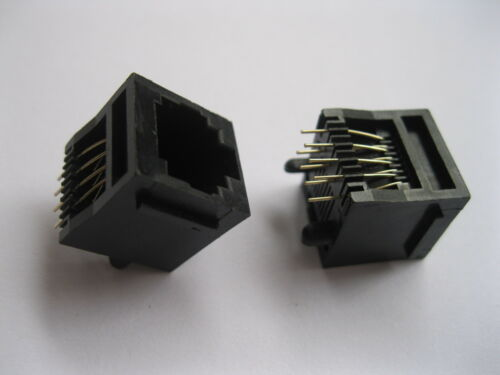 20 pcs RJ45 Modular Network PCB Jack Connector 5222 8P8C Top Entry with Flange