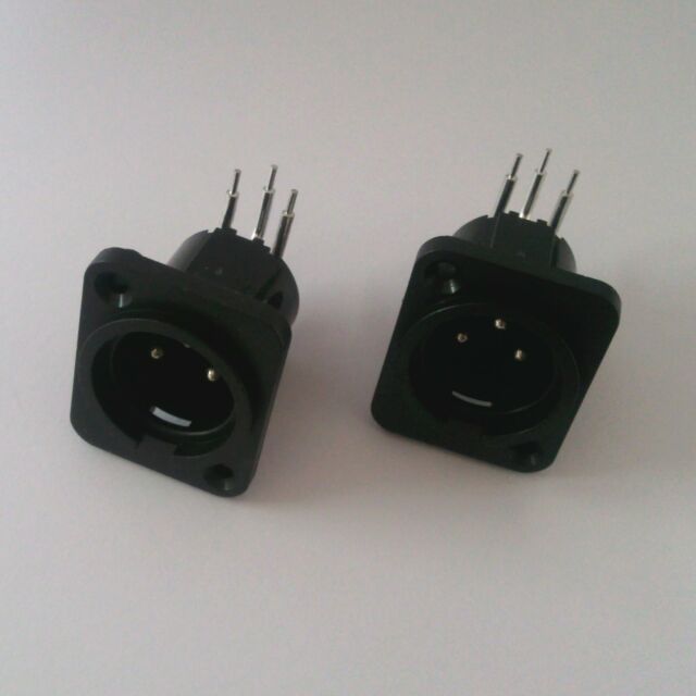 2Pcs XLR 3 Pin Panel Mount Male Chassis Socket Connector