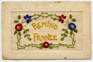 Embroidered-WWI-Remind-France-Vintage-Postcard