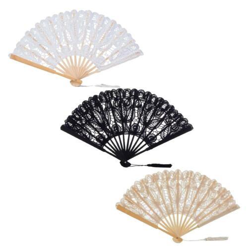 Folding Hand Hollow Fan Lace Handheld Dance Party Fancy Dress Photography Props