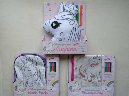 Back Pack or Glittered Messenger Bag Colour Your Own Unicorn Cushion