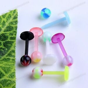 10pcs-16g-Mixed-UV-Round-Ball-Top-Labret-Lip-Ring-Barbell-Bars-Piercing-Jewelry