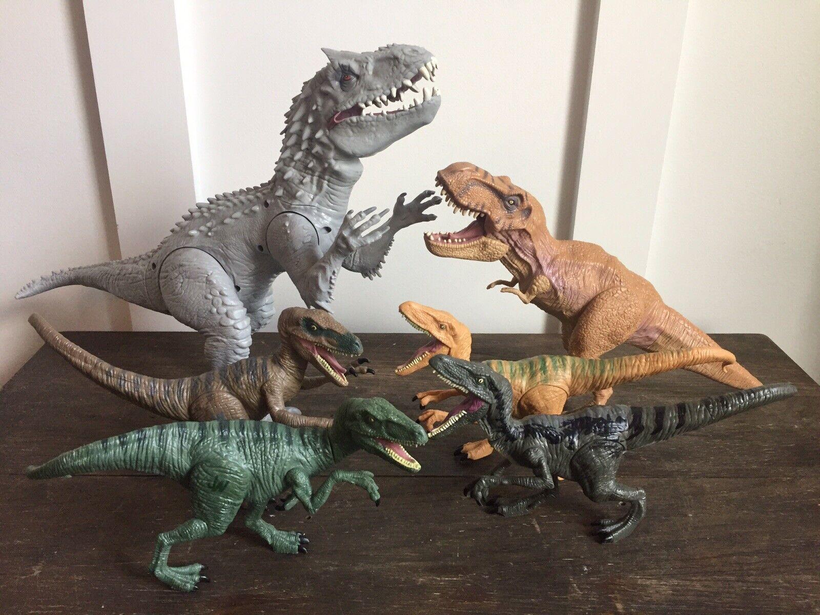 "Hasbro Jurassic World Indominus Rex 20"" Dinosaur Lights + Sound Plus Raptors Lot"