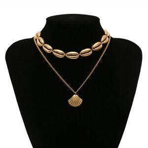 Femme-Mode-Plage-Shell-Collier-Bijoux-de-Boheme-Chaine-Coquillage-Pendentif
