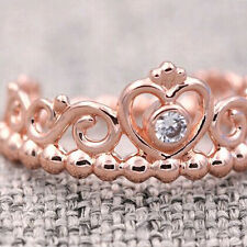 Princess Tiara Ring Rose Gold PL Solid Sterling Silver Stacking Size 56 / 7.5