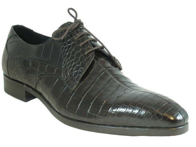 Men's Dressy Dark Brown Alligator Lace up shoes By Mezlan Byrne