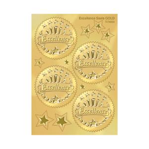 Embossed Gold Certificate Stickers (Excellence) - School Teacher Rewards