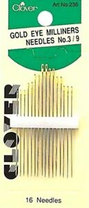 Clover 236 Gold Eye Milliners Needles Size 3 9 SET OF THREE! 5 7