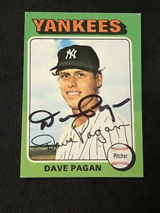 DAVE PAGAN 1975 TOPPS MINI SIGNED AUTOGRAPHED CARD #648 NEW YORK YANKEES