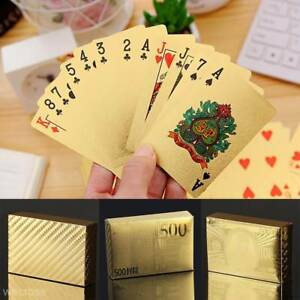 54-Plastic-24K-Gold-Foil-Plated-Playing-Cards-Poker-Game-Euro-Cards-For-Party