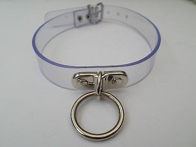 "clear pvc fetish bondage slave collar with 25mm ring  16-19"" neck 30mm wide"