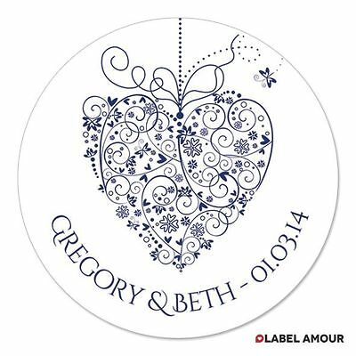 PERSONALISED Floral Heart Wedding Favour Party Bag Sticker Labels | PrimHeart