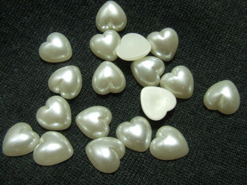100 Pearly Shimmer Ivory Love Heart Beads Rhinestones//Gem 10 mm Flat Back GlueOn