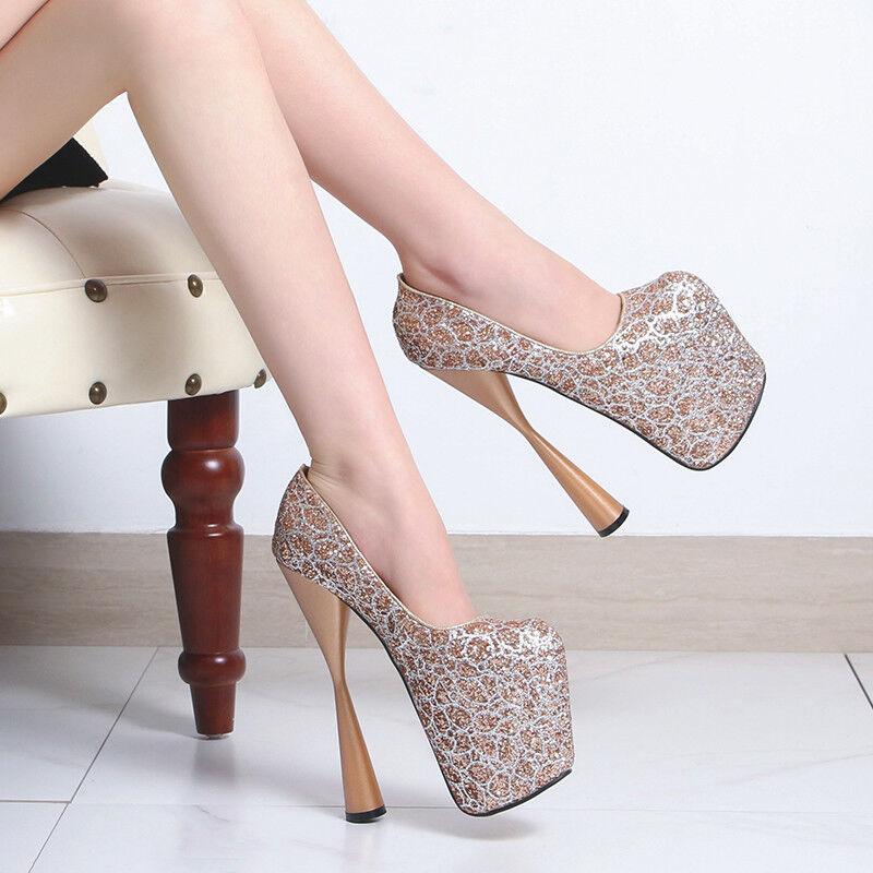 Femmes Nightclub super-Talon haut 20 cm Pompe chaussures Compensées Sandales Soirée chaussures SZ