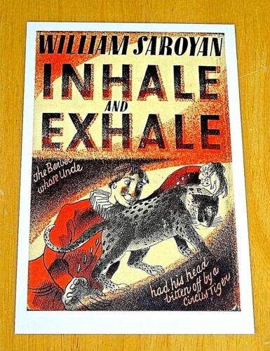 FABER ~ BOOK COVER POSTCARD ~ INHALE AND EXHALE BY WILLIAM SAROYAN 1936 DESIGN