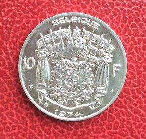 Belgique-Baudouin-Tres-rare-monnaie-de-10-Francs-1974-FR-Frappe-Medaille