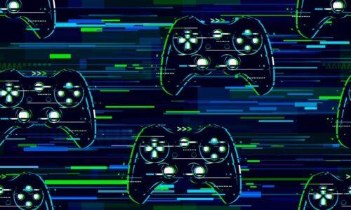Sostanza sommersweat French Terry combinata Gaming Controller Verde Blu 170cm larga