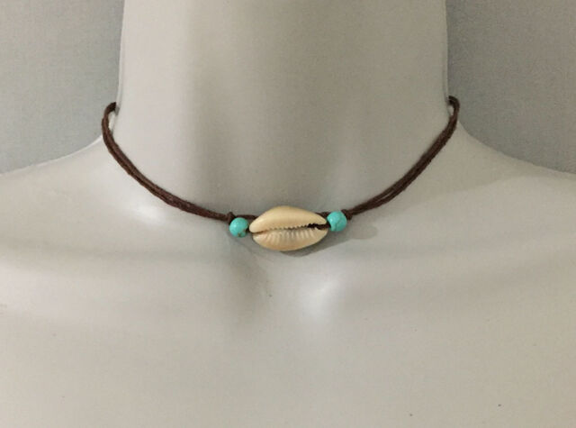 Beach Surfer Cowrie Shell Turquoise Beads on Black Cord Choker Necklace Women