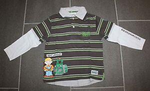 Tolles-Hemd-Shirt-in-khaki-Streifen-mit-Bob-der-Baumeister-in-Gr-110-von-C-amp-A