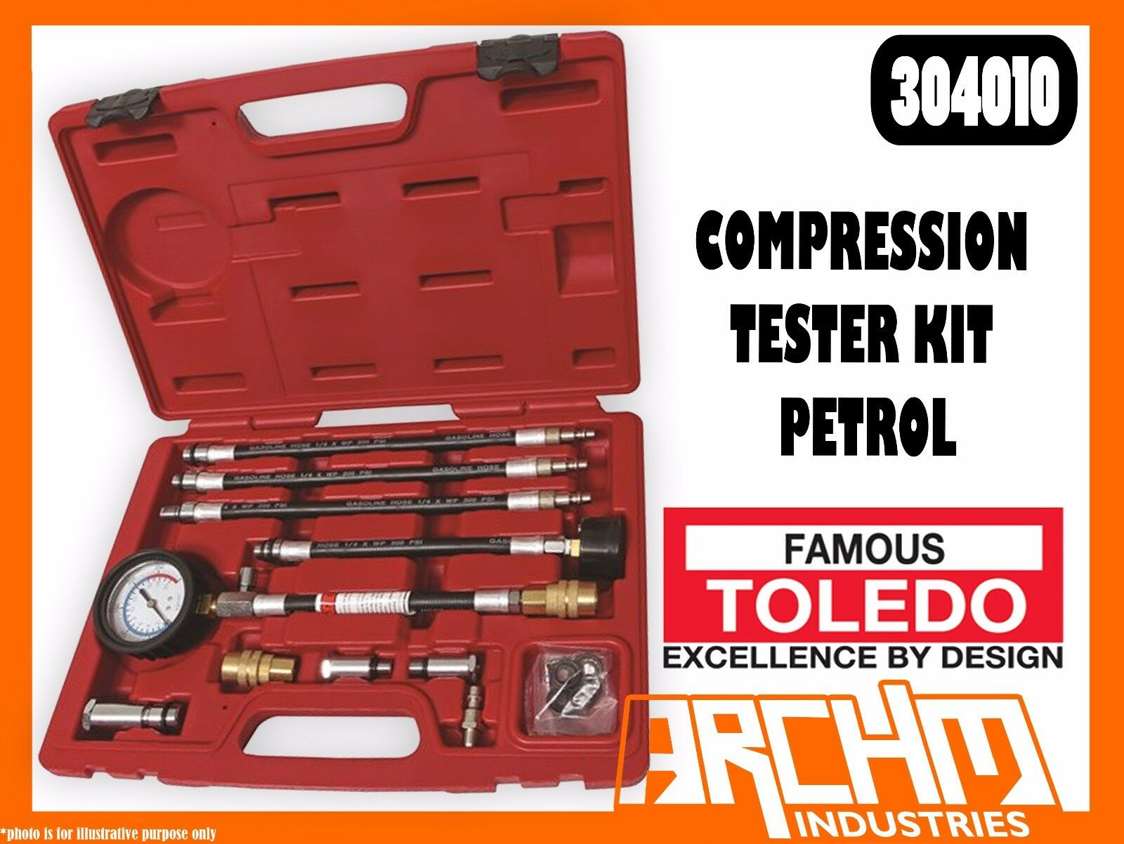 TOLEDO 304010 - COMPRESSION TESTER KIT - PETROL - ENGINES SPARK PLUGS 0-300 PSI