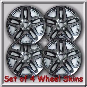4 chrome with black 17 wheel skins hubcaps 2013 2014 ford fusion wheel covers ebay. Black Bedroom Furniture Sets. Home Design Ideas