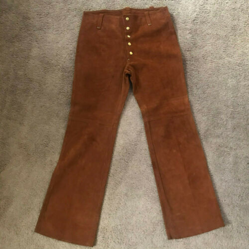 Vintage MENS  Suede Leather Pants BELL BOTTOMS Wor