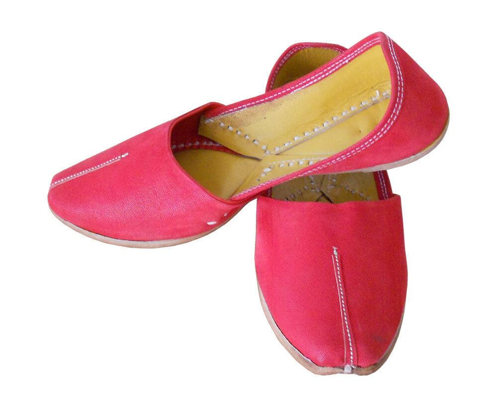 Men shoes Red Jutti Leather Indian Flip-Flops Mojari Loafers & Slip Ons US 8-10
