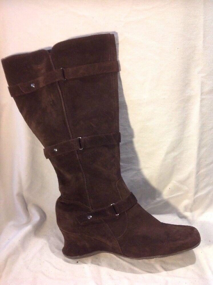 Essence Dark Brown Knee High Suede Boots Size 7