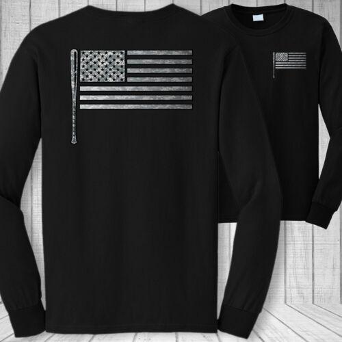 USA patriotic baseball bat shirt Softball American flag long sleeve t-shirt
