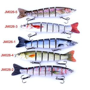 Multi-jointed-Segmented-Plastic-Fishing-Lure-Crankbait-Bait-W-Feather-Hook-Tool