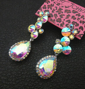 Betsey-Johnson-Bling-AB-Crystal-Rhinestone-Flower-Teardrop-Stud-Earrings