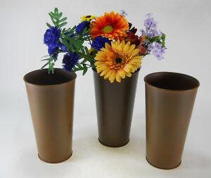 9 Quot Tall Rust Look Flower Pots Metal Arrangements Bucket Pail Weddings Home Decor 717029367976 Ebay