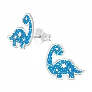 Girls//boys sterling silver dinosaur pouch Triceratops stud earrings