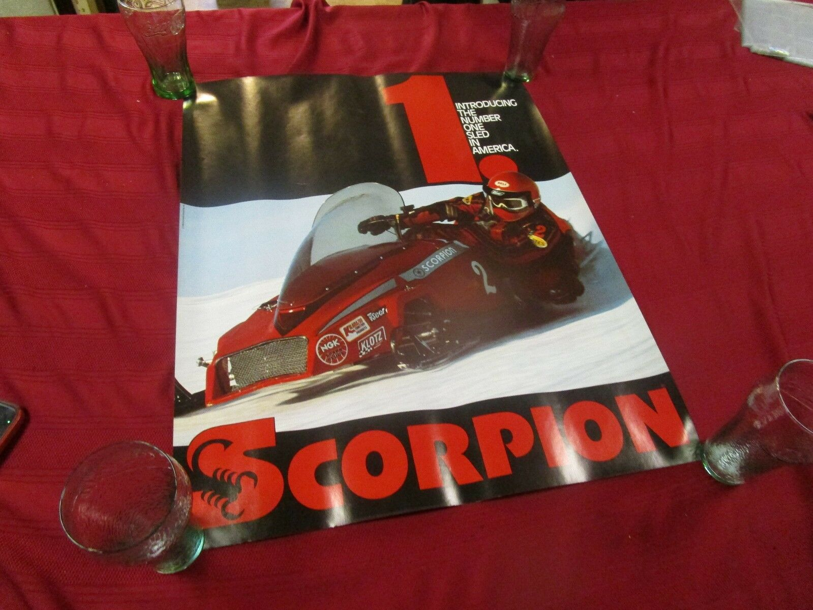 Vintage 1980 Scorpion racing snowmobile poster no rips 22x28